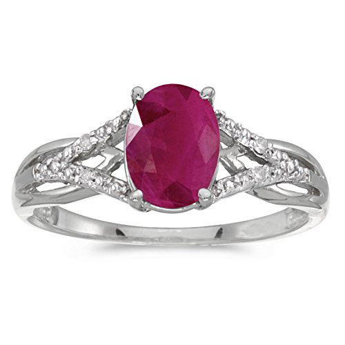 Jewels By Lux 10k White Gold Genuine Red Birthstone Solitaire Oval Ruby And Diamond Wedding Engagement Ring - Size 6 (1.05 Cttw.)