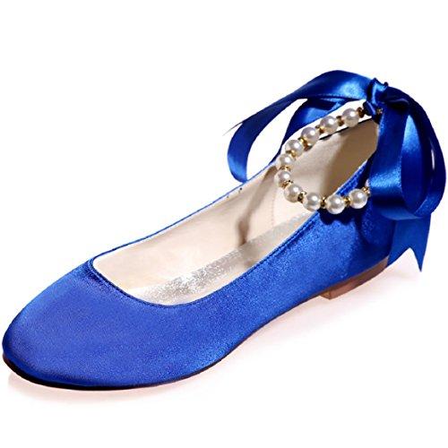5 Flats Szxf9872 4 Round Uk Bridal 8 15a Toe Sarahbridal Bow Uk With Blue Wedding Women Shoes WAYzvOU