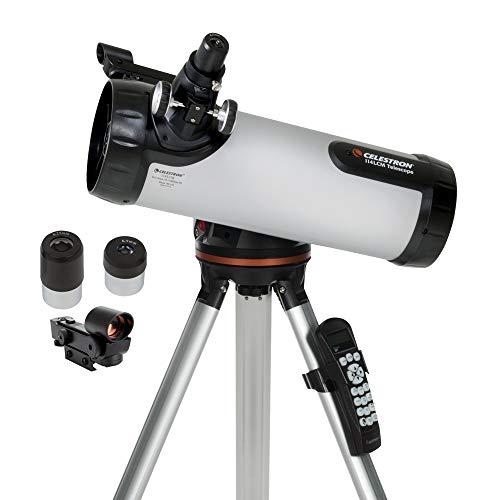 🥇 Celestron – 114LCM Computerized Newtonian Telescope – Telescopes for Beginners – 2 Eyepieces – Full-Height Tripod – Motorized Altazimuth Mount – Large 114mm Newtonian Reflector