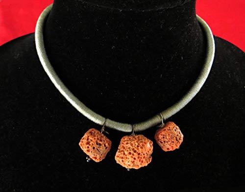 - Three Pendants of Rare Sponge Coral on a Gray Silken Cord