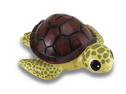 (Zeckos Baby Brown Shell Sea Turtle Coin Bank Statue Childrens Piggy Bank)