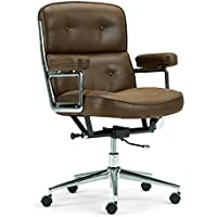 Simpli Home Barton Swivel Office Chair, Chocolate Brown