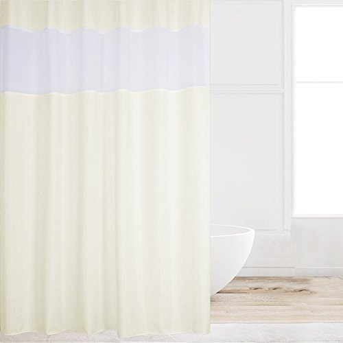 Eforcurtain Extra Long Contemporary Sand Cloth Shower Curtain with White Organza 72 by 78 Inch, Water Repellent Mildew Resistant Shower Curtains with Rustproof Metal Grommets (Shower Hooks Long Extra)