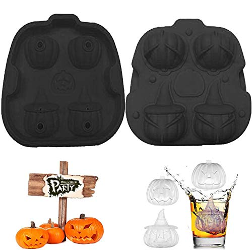 Ice Cube Molds Silicon, Lid Flexible Easy-Release Halloween Pumpkin Ice Cube Trays with 3D Shapes 4 Large Cavity for Whiskey Freezer Coffee DIY Chocolate Jello Cake BPA Free Party Supplies (Black)