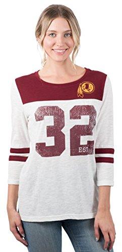 Redskins T-shirts - Icer Brands NFL Washington Redskins Women's T-Shirt Vintage 3/4 Long Sleeve Tee Shirt, Large, White