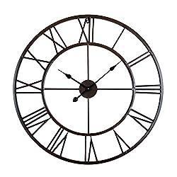 Utopia Alley Roman Round Clock, Distressed Finish, Metal, Oil Rubbed Bronze