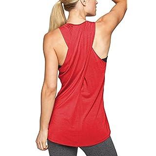 EachEver Women's Cross Back Sleeveless Workout Shirt Active Yoga Tank Top Red XL