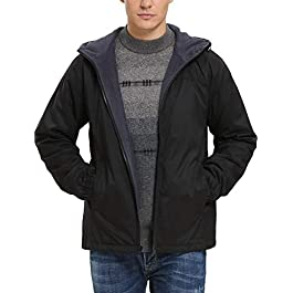 Men's Lightweight Fleece-Lined Hooded Jacket with Rainproof Windproof Shell