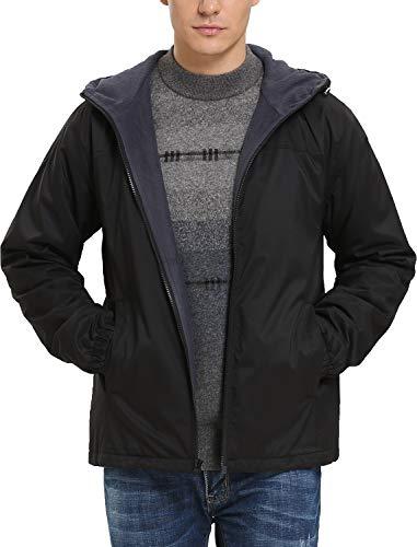 iLoveSIA Men's Lightweight Fleece-Lined Hooded Jacket US Size XL Black