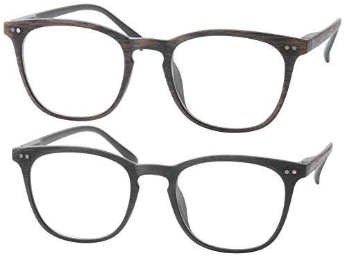 b3cb84ac5c5 SOOLALA Mens Retro Woodgrain Stylish Reading Glasses with Spring Hinge Arms