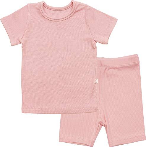 AVAUMA Newborn Baby Little Boys Snug-Fit Pajamas Summer Short Sets Pjs Kids Clothes (Large / 3T, Pink)