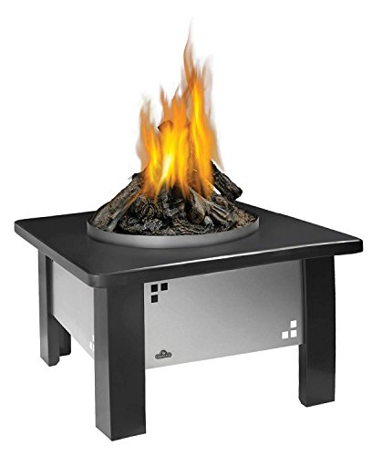 Napoleon Patioflame Fire Pit Table with Logs and Granite Top (GPFP-2-PFTT-GK-PFT), Round, Stainless Steel, Propane Gas