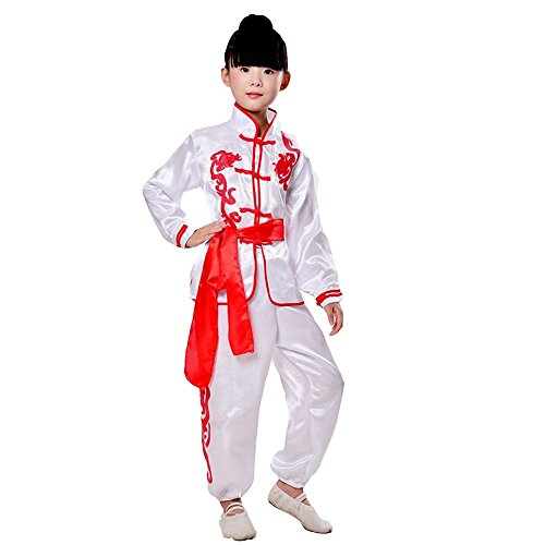 ZooBoo Karate Martial Arts Uniform - Nanquan Taekwondo Hapkido Sanda Chinese Kung Fu Wing Chun Training Clothes Apparel Clothing with Belt for Kids Boys Girls - Synthetic Silk (Height 130cm, White)