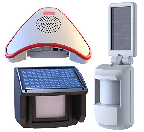 HTZSAFE Solar Wireless Driveway Alarm System-Includes 1 Alarm Receiver, 1 Outdoor Motion Sensor, 1 Indoor Motion Sensor-Solar Powered No Need Replace Batteries-1/4 Mile Long Transmission Range