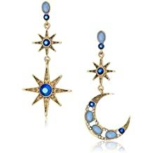 Betsey Johnson Womens Moon and Star Drop Earrings