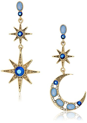 Betsey Johnson Mystic Baroque Queens Blue and Gold Moon and Star Drop Earrings from Betsey Johnson