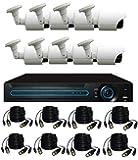8 كاميرات مراقبة للاماكن الخارجية فل اتش دي 1280 × 720 بكسل مع جهاز تسجيل دي في ار وشبكي ان في ار الترا اتش دي نظام سي سي سي تي في ما يعادل دقة 1200 خط