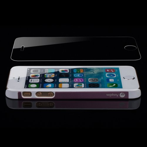 Amplim Alloy Ultra Apple iPhone 5/5S Pink Aluminum Case + Scratch Proof Tempered Glass Screen Protector Rounded Edges - AT&T Verizon Sprint T-Mobile