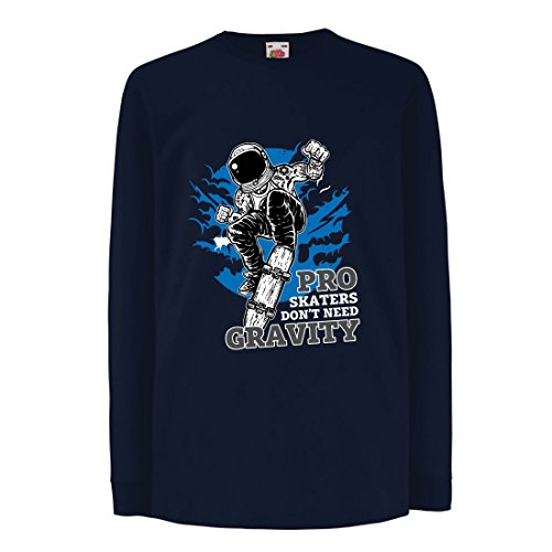 lepni.me T-Shirt For Kids Pro Skaters Don't Need Gravity - Skateboard Sayings, Skate Life Quotes (3-4 Years Blue Multi Color)