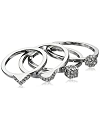 "Vince Camuto ""Gifting"" 4 Piece Geo Pave Thin Stackable Ring, Size 7"