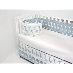 ROCKINGHAM ROAD GIRAFFE CRIB BEDDING SET UNISEX, GENDER NEUTRAL(BUMPER AND CRIB SKIRT),BABY BLUE GIRAFFES (BEST SELLER)UNISEX,MADE IN THE USA.