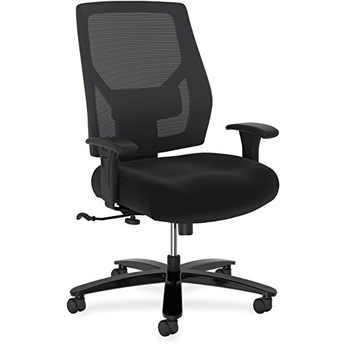 HON Crio High-Back Big and Tall Chair – Fabric Mesh Back Computer Chair for Office Desk, Black (HVL585)