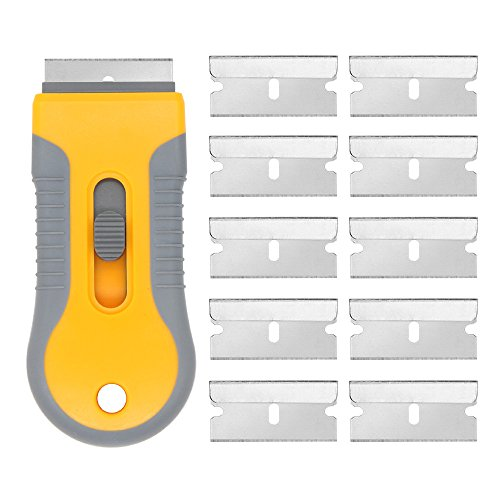 EEFUN Razor Blade Scraper with 10pcs Carbon Steel Blades for