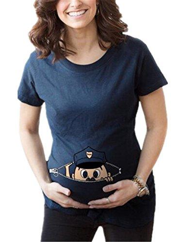 Ailient Bluse Casual Per Pregnancy Maternity Stampato Tops Corta Maglietta Shirt Manica T Partorire Parto Premaman Camicetta Gravidanza Blu Estate Top Donna rAn1p6r