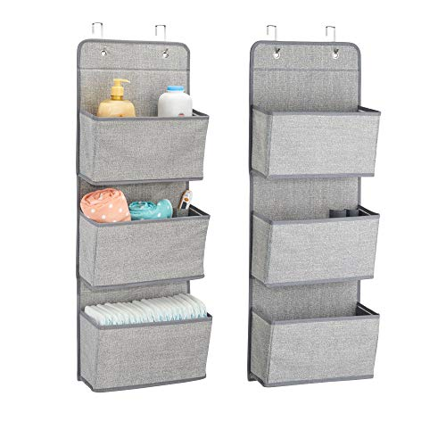 mDesign Soft Fabric Wall Mount/Over Door Hanging Storage Organizer - 3 Large Pockets for Child/Kids Room or Nursery, Hooks Included - Textured Print, 2 Pack - Gray -