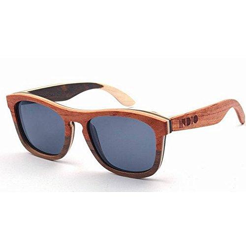 sol de del Gafas calidad marco la mano hombres los del doble de sol alta lente la polarizadas de de a hechas Adult Eyewear conducción de Gafas color de ULTRAVIOLET de sol oscura TAC de madera de Gafas 4qvRPA