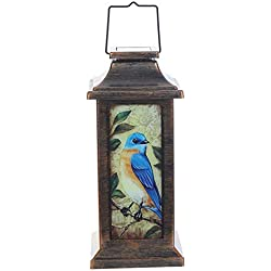 "CEDAR HOME Solar Lantern Outdoor Garden Decorative LED Light Waterproof Portable Hanging Lamp, Blue Winter Bird, 12.25""H"