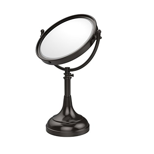 (Allied Brass DM-1/5X-ORB Height Adjustable 8 Inch Vanity Top Make-Up Mirror 5X Magnification Oil Rubbed Bronze)