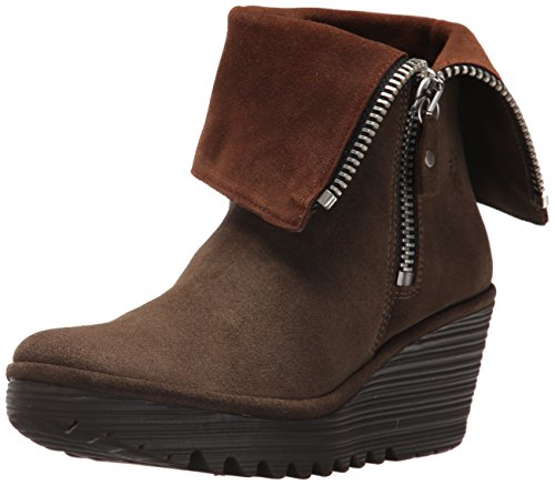 FLY London Women's Yex668fly Mid Calf Boot, Sludge/Camel Oil Suede, 38 M EU (7-7.5 US)