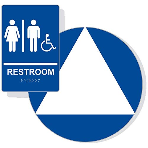 California Title 24 Unisex Restroom Sign Set for Wall and Door, White on Blue Laminated Acrylic with Adhesive Mounting Strips by ComplianceSigns ()