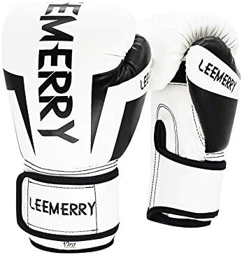 Mini gloves 多色ユニセックスタンパー通気性ボクシンググローブ大人のボクシンググローブプロフェッショナルトレーニングムエタイフリーファイト土嚢ボクシンググローブ (Color : White black, Size : 8oz)