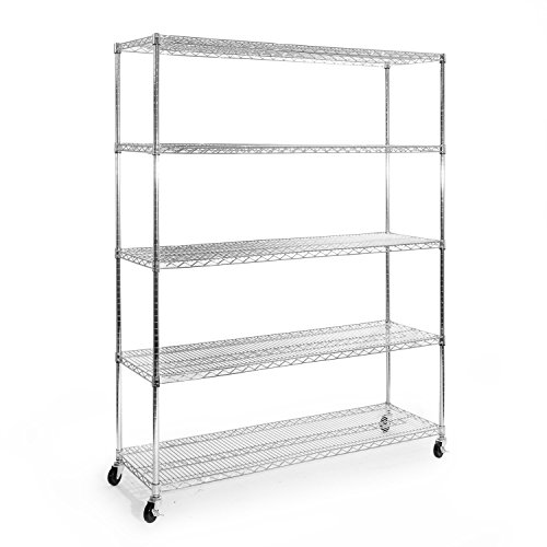 Seville Classics UltraDurable Commercial-Grade 5-Tier Steel Wire Shelving with Wheels, 60
