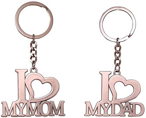Aai I Love My Dad And I Love My Mom Silver Colour Metal Keychain Pack Of 2 Pieces Amazon In Bags Wallets Luggage