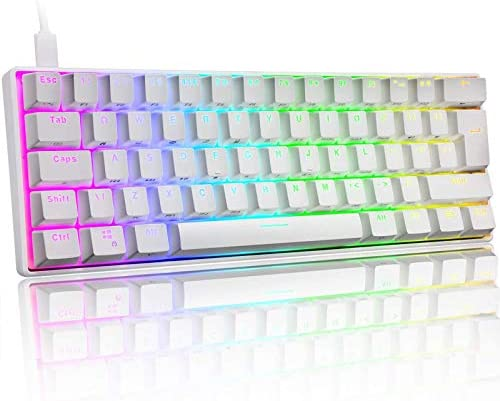 60% Mechanical Gaming Keyboard Mini Portable with Rainbow RGB Backlit Full Anti-Ghosting 61 Key Ergonomic Metal Plate Wired Type-C USB Waterproof for Typist Laptop PC Mac Gamer (White/Red Switch)