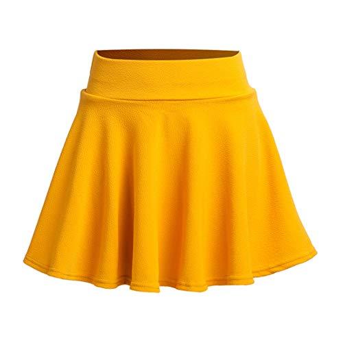 (Women's Mini Skirt Basic Solid Stretchy Flared Versatile High Waist Skirt 50s Pleated Petticoat (L, Yellow))