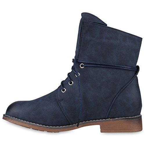 Damen Schuhe Worker Boots Warm gefüttert mit Blockabsatz Flandell Blau Bernice Blue