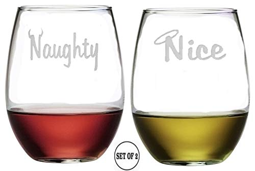 Naughty Nice Stemless Wine Glasses | Etched Engraved | Perfect Fun Handmade Present for Everyone | Lead Free | Dishwasher Safe | Set of 2 | 4.25