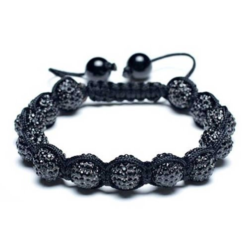 (Black Pave Crystal Ball Shamballa Inspired Bracelet for Women for Men Black Cord String Adjustable)