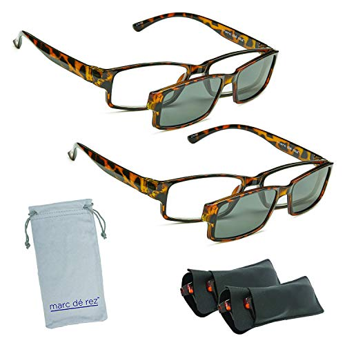 Marc De Rez Computer Reading Glasses With Clip On Sunglasses - 2 Pack - Anti Blue Light Prescription Readers, Magnetic Sun Shades and Pouch - UVC, UVB and UVA Protection - Tortoise, 2.50