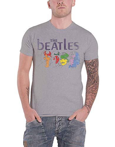 The Beatles T Shirt White Album Back Print Vintage Logo Official Mens Grey Size S