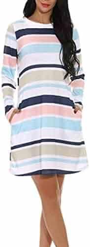 XILALU Pockets Dress for Women, Loose Stripe Color Block Long Sleeve Casual Shift Cotton Blend Mini Short Dress Plus Size