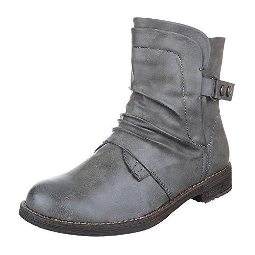 Ital-Design Komfort Stiefeletten Damen Schuhe Schlupfstiefel Blockabsatz Leicht Gefütterte Reißverschluss Stiefeletten Grau