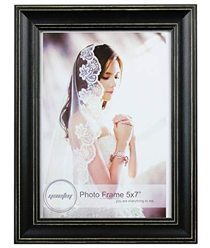 Yaetm Solid Wood Picture Frame 5x7, Distressed Wooden Photo Frame, Table Top and Wall Mounting Display, Vertical or Horizontal, Real Glass, -