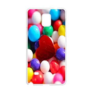 Samsung Galaxy Note 4 Case,Colorful Marbles Red Heart Hard Shell Back Case for White Samsung Galaxy Note 4 Okaycosama401964