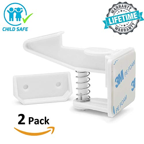 Child Safety Cabinet Locks Latches - 2 Pack,Kids Baby Proofing Lock Child Proof Drawer Locks - Cupboard Hidden Latch - 3M Adhesive,Door Spring Lock - No Tools,Drill (White) by Evomax