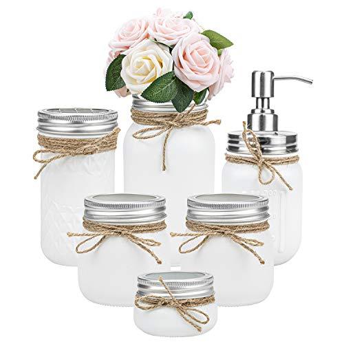 Tebery 6 Pack White Painted Mason Jar Bathroom Accessories Set Rustic Farmhouse Decor Bathroom Countertop Vanity…